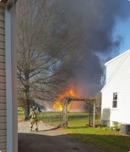 Assist to Amity on garage fire