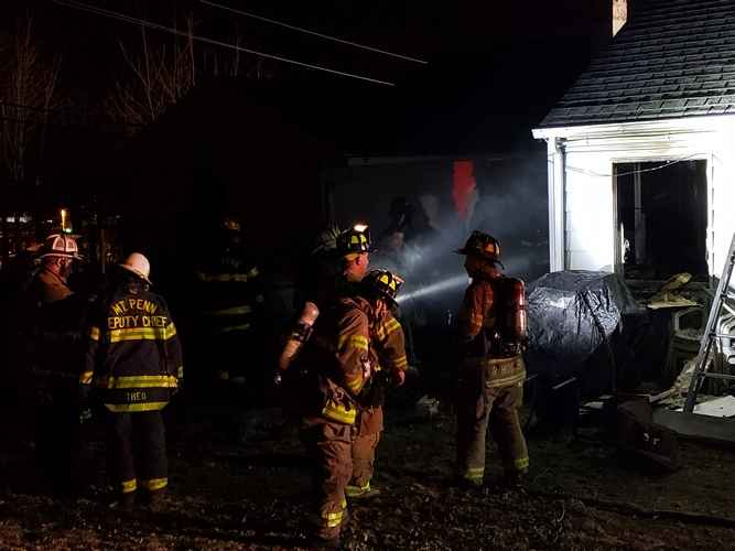 Structure fire assist to Exeter